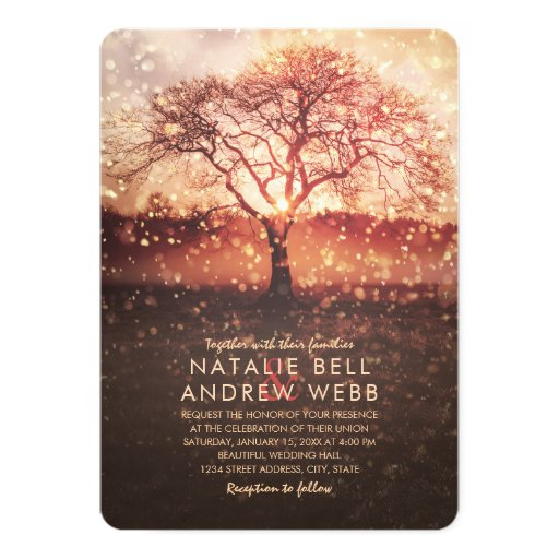 Rustic winter wedding elegant tree snowflake fall Invitation