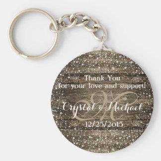 Rustic Winter Wedding Favor Personalized Key Ring Keychain