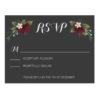 Rustic Winter Wedding RSVP Postcard