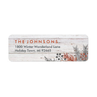 Rustic Winter Whitewashed Wood Christmas Label