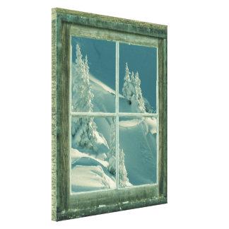 Rustic Winter Window Wonderland Canvas Print