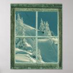 Rustic Winter Window Wonderland Poster