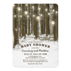Rustic Winter Wonderland Woodland Tree Baby Shower Card