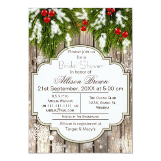 Rustic Winter Woodland Bridal shower 5x7 Paper Invitation Card