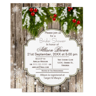 Rustic Winter Woodland Bridal shower Card