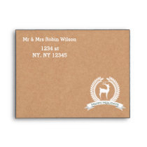 Rustic winter woodland deer Holiday envelopes