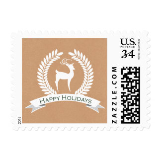 Rustic winter woodland deer Holiday stamps