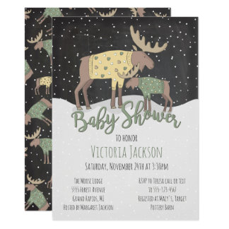 Rustic Winter Woodland Moose and Baby Shower Card