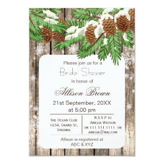 Rustic Winter Woodland pine cones Bridal shower 5x7 Paper Invitation Card