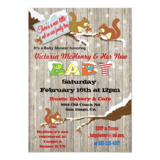 Rustic Winter Woodland Squirrel Baby Shower Card