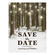 Rustic Winter Woodland Tree Save the Date