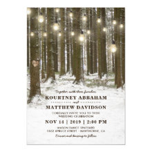 Rustic Winter Woodland Tree String Lights Wedding