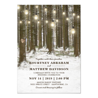 Rustic Winter Woodland Tree String Lights Wedding Card