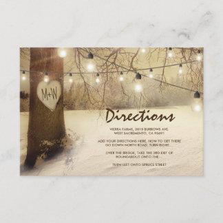 Rustic Winter Xmas Tree Lights Wedding Directions Enclosure Card