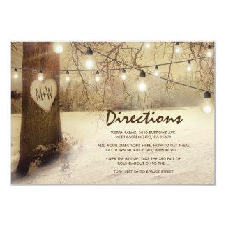 Rustic Winter Xmas Tree Lights Wedding Directions Invitation
