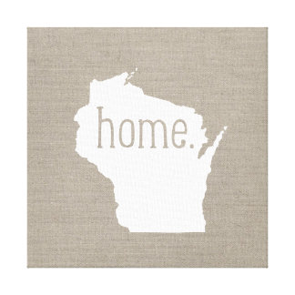 Rustic Wisconsin Home State Wrapped Canvas Art