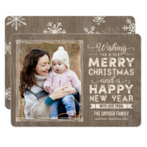 Rustic Wishes Holiday Photo Cards Christmas Card