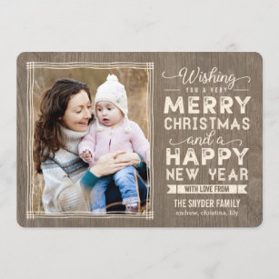 rustic wishes holiday photo cards christmas card - Rustic Christmas Cards