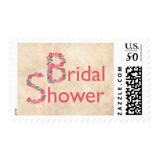 Rustic with Hand Drawn Flowers Bridal Shower Postage