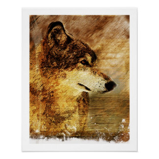 Rustic Wolf Fine Aat Print Print