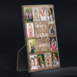 "Rustic Wood 12 Photo Collage Family Plaque<br><div class=""desc"">Create your own photo collage  plaque  with 12 of your favorite pictures on a wood texture background.Personalize with family name and established date. The ""Family is Everything"" quote adds a unique touch to the photo plaque  gift.</div>"