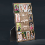 """Rustic Wood 12 Photo Collage Family Plaque<br><div class=""""desc"""">Create your own photo collage  plaque  with 12 of your favorite pictures on a wood texture background.Personalize with family name and established date. The """"Family is Everything"""" quote adds a unique touch to the photo plaque  gift.</div>"""