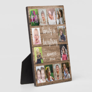Rustic Wood 12 Photo Collage Family Plaque