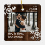 """Rustic Wood 1st Christmas Mr. &amp; Mrs. Custom Photo Ceramic Ornament<br><div class=""""desc"""">Customize this ornament with your wedding photo and add your last name along with the year for this great Christmas keepsake.</div>"""