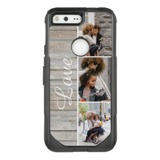 Rustic Wood 3 Photo Collage OtterBox Commuter Google Pixel Case