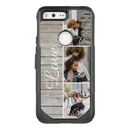 Rustic Wood 3 Photo Collage Phone Case