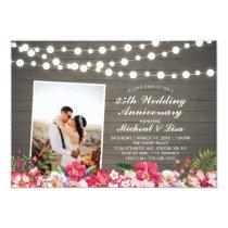 Rustic Wood 40th Photo Wedding Anniversary Invitation
