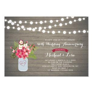 Rustic Wood 40th Wedding Anniversary Invitation