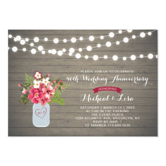 Rustic Wood 40th Wedding Anniversary Invitation