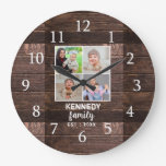 Rustic Wood 4 Family Photo Collage Large Clock