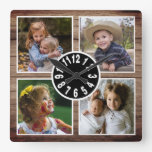 Rustic Wood 4 Photo Collage Christmas Square Wall Clock