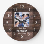 Rustic Wood 4 Photo Collage Wedding Anniversary Large Clock