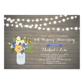 Rustic Wood 50th Wedding Anniversary Invitation