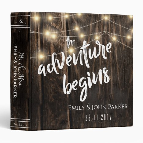 "Rustic Wood ""Adventure Begins"" Keepsake Wedding 3 Ring Binder"