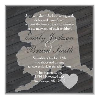 Rustic wood Alaska gray wedding invitations