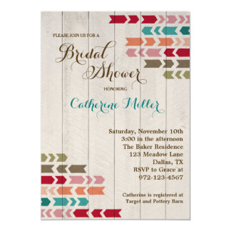 "Rustic Wood and Arrow Bridal Shower Invitations 5"" X 7"" Invitation Card"