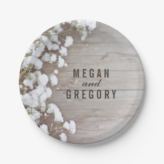 Rustic Wood and Baby's Breath Wedding Paper Plate
