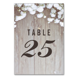 Rustic Wood and Baby's Breath Wedding Table Number