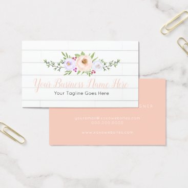 Professional Business Rustic Wood and Blush Floral Business Cards