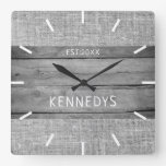 Rustic Wood And Burlap Farmhouse Family Name Square Wall Clock