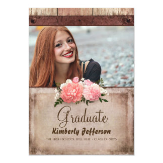 Rustic Wood and Burlap Floral Photo Graduation Card