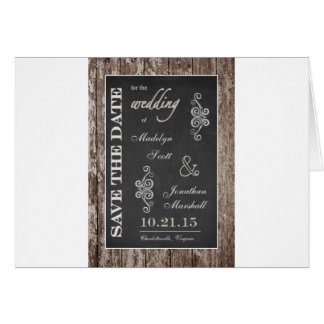 Rustic Wood and Chalkboard 5x7 Save the Date Card