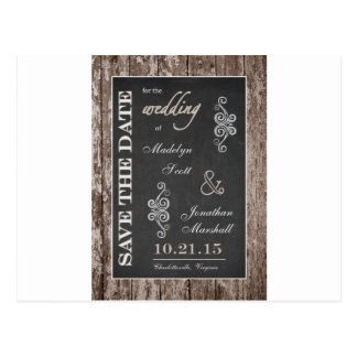 Rustic Wood and Chalkboard 5x7 Save the Date Postcard