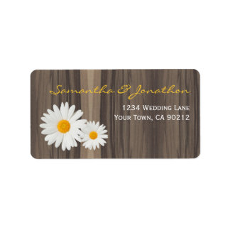 Rustic Wood and Daisies Personalized Address Labels
