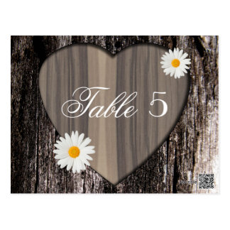 Rustic Wood and Daisies Wedding Table Number Postcard