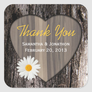 Rustic Wood and Daisies Wedding Thank You Square Sticker